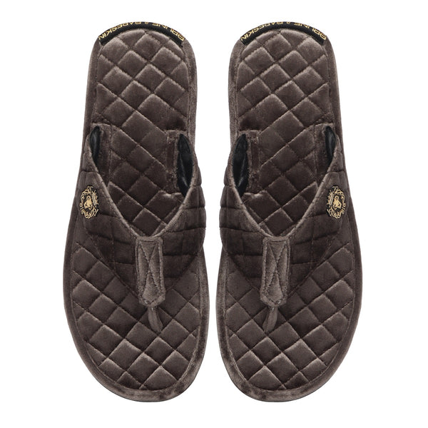 Grey Full Quilted Stitched V-Strap Soft Italian Velvet Slippers By Bareskin