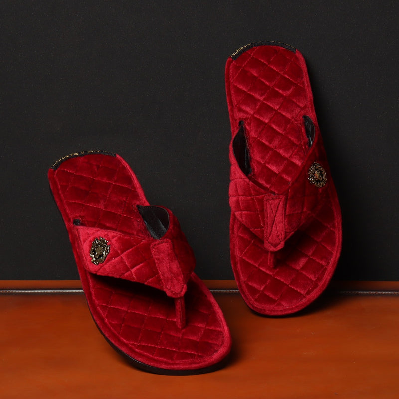 Red Full Quilted Stitched V-Strap Soft Italian Velvet Slippers By Bareskin