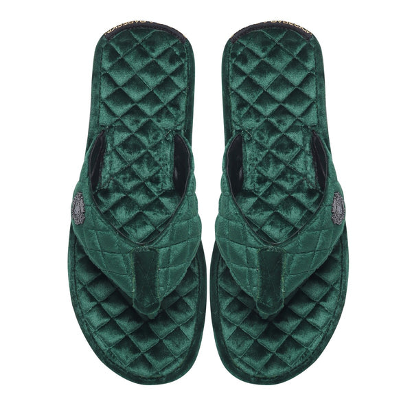 Green Full Quilted Stitched V-Strap Soft Italian Velvet Slippers By Bareskin