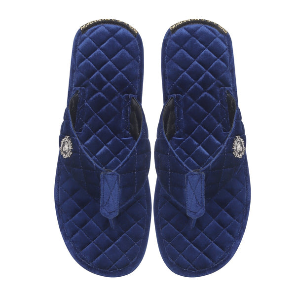 Blue Full Quilted Stitched V-Strap Soft Italian Velvet Slippers By Bareskin