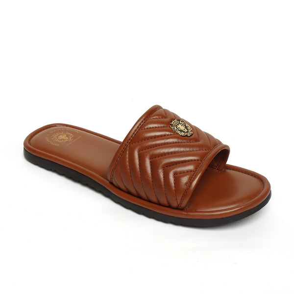 Brown Leather Zig-Zag Strap Comfy Slide-in Slippers By Brune & Bareskin