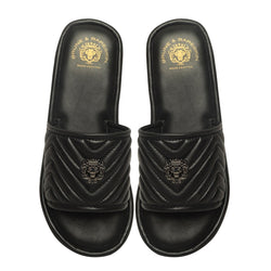Black Leather Zig-Zag Strap Comfy Slide-in Slippers By Brune & Bareskin