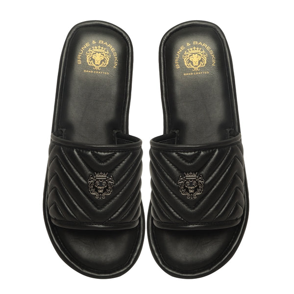 Black Leather Zig-Zag Strap Comfy Slide-in Slippers By Bareskin