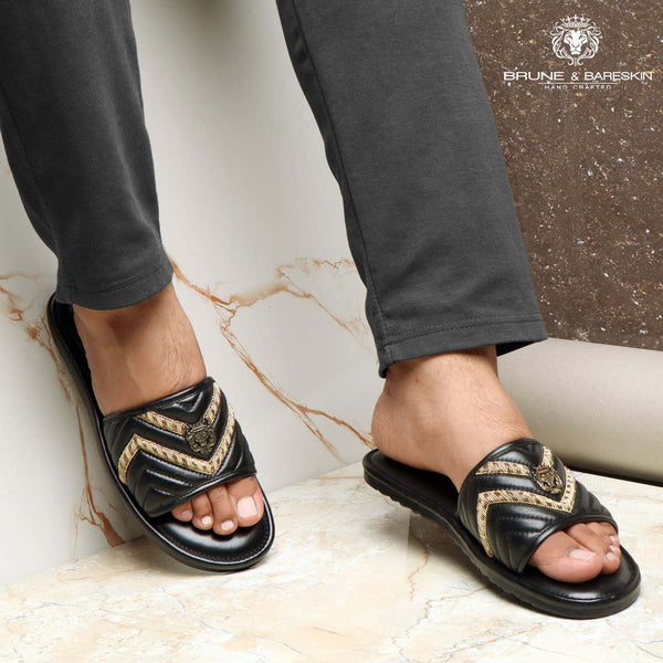 Black Leather Zig-Zag Zardosi Strap Comfy Slide-in Slippers By Bareskin