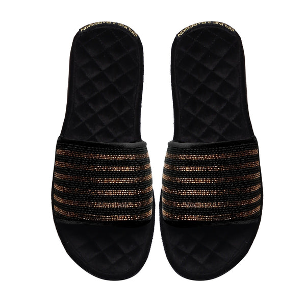 Black-Golden Zardosi Strap Quilted Super Soft Base Velvet Slide-in Slippers By Bareskin