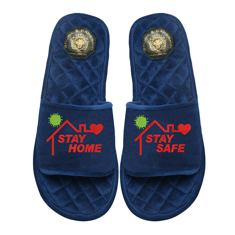 Blue Velvet Stay Home Quilted Super Soft Base Slide-in Slippers By Bareskin