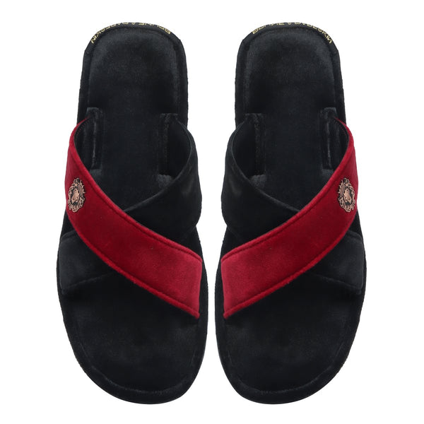 Black-Red Cross Straps Comfy Velvet Slide-in Slippers By Brune & Bareskin