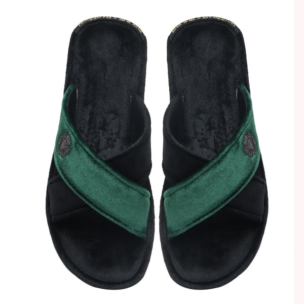 Black-Green Cross Straps Comfy Velvet Slide-in Slippers By Brune & Bareskin