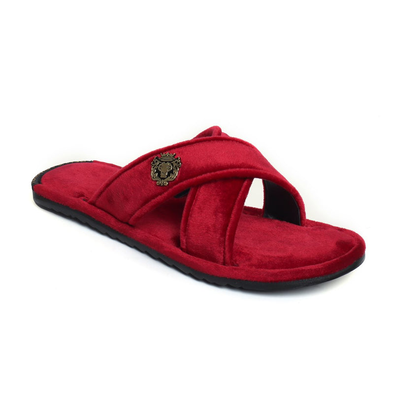 Red Cross Straps Comfy Velvet Slide-in Slippers By Bareskin