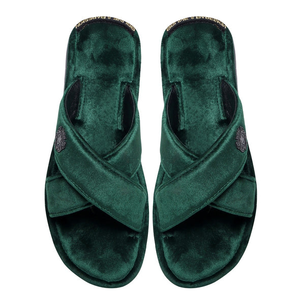 Green Cross Straps Comfy Velvet Slide-in Slippers By Bareskin