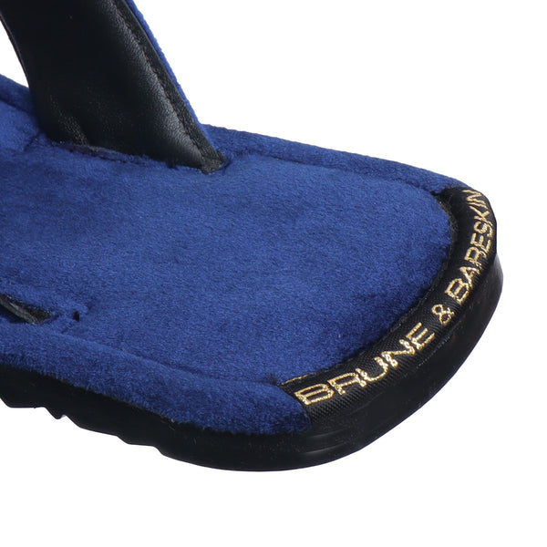 Blue Cross Straps Comfy Velvet Slide-in Slippers By Bareskin