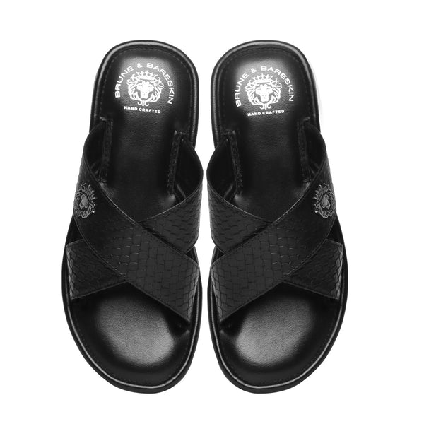 Black Snake Print Leather Cross Straps Comfy Slide-in Slippers By Bareskin