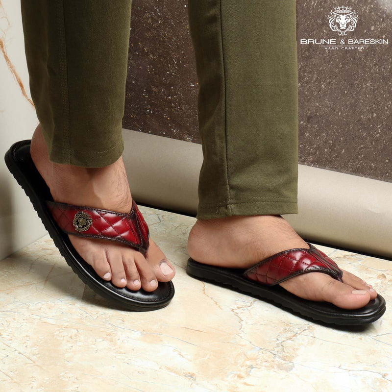 Wine Leather Quilted V-Strap with Padded Base Slippers By Bareskin