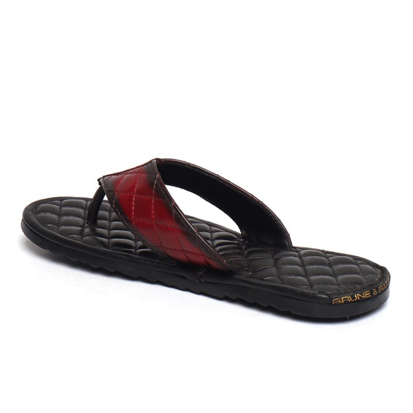 Wine Strap Contrasting Black Leather Full Quilted V-Strap Slippers by Brune & Bareskin