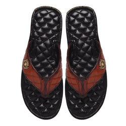 Tan Contrasting Leather Full Quilted V-Strap Slippers By Brune & Bareskin