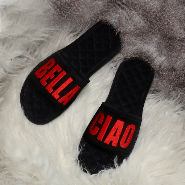 Bella Ciao Red Embroidered Black Velvet Base Slide-in Slippers By Bareskin