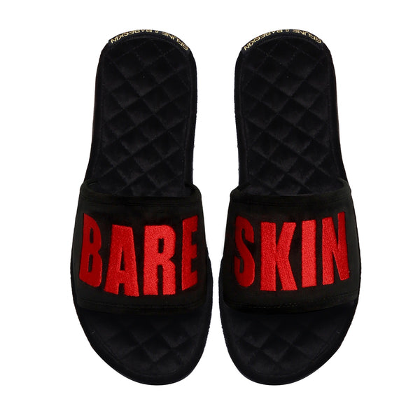 BARESKIN Red Embroidered Black Velvet Super Soft Base Slide-in Slippers