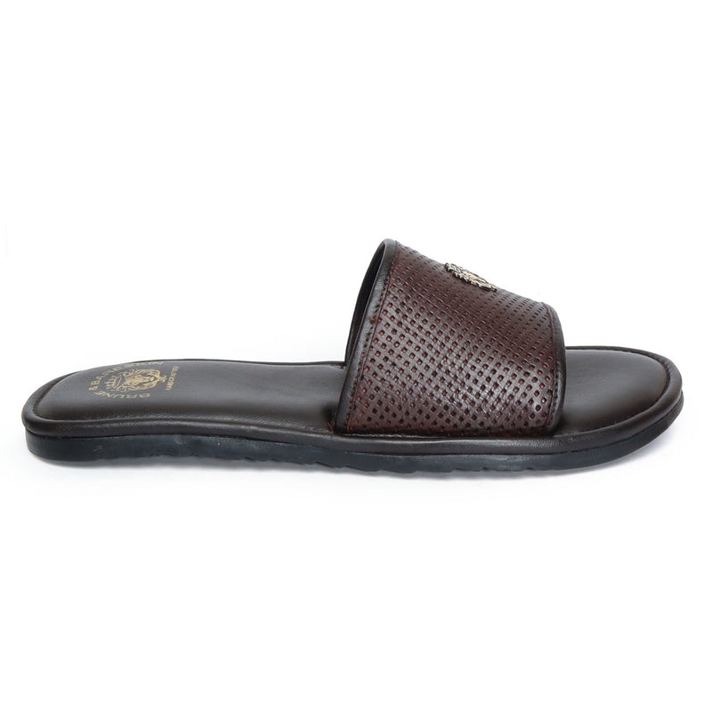 Brown Perforated Genuine Leather Slipper By Brune&Bareskin