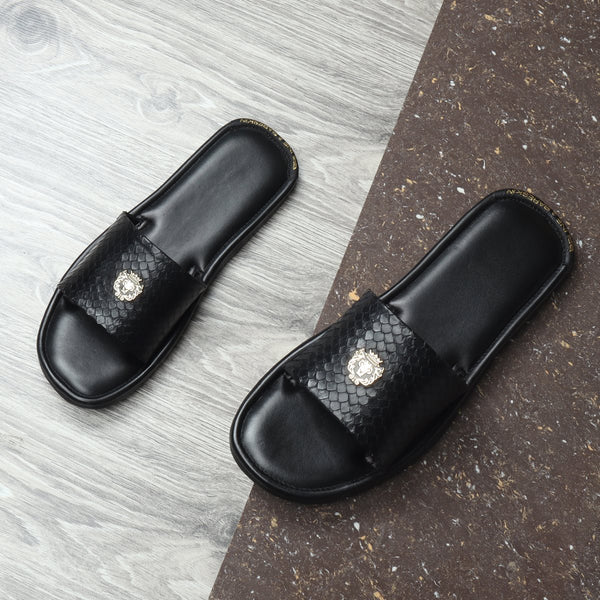 Black Snake Skin Textured Leather Slide-In Slippers by BRUNE & BARESKIN