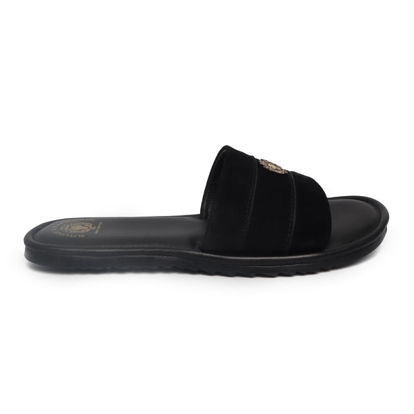 Black Suede Strap Leather Slide-in Slippers by BRUNE & BARESKIN