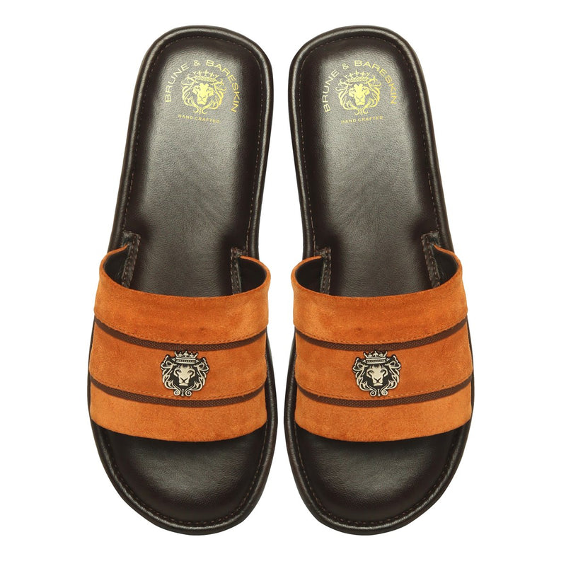 Orange Suede Leather Contrasting Strap Slide-in Slippers by BRUNE & BARESKIN