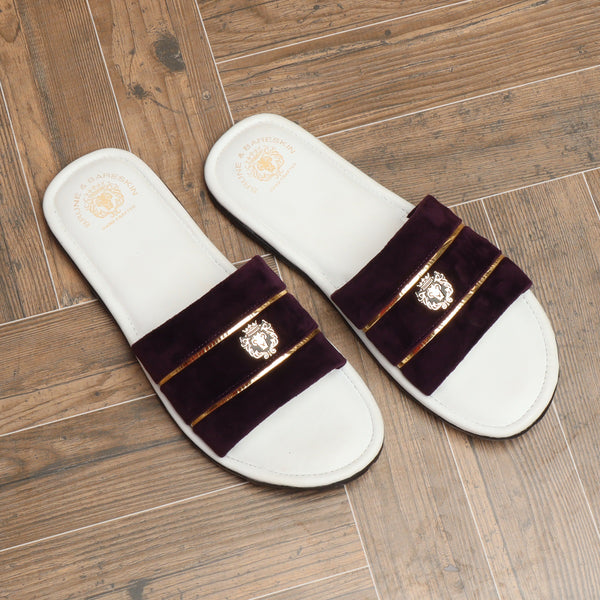 Purple Velvet Strap with White Leather Comfy Base Slide-in Slippers by Brune & Bareskin