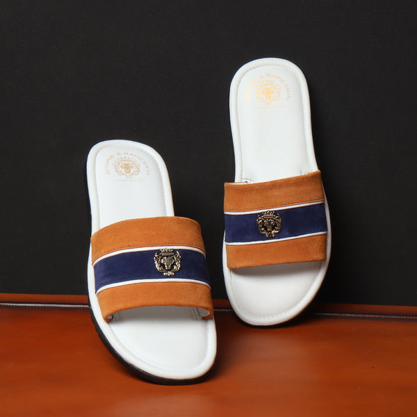 Orange & Blue Suede Strap White Leather Slide-in Slippers by BRUNE & BARESKIN