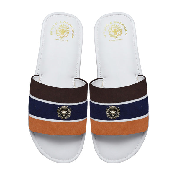 Brown, Blue & Orange Suede Strap White Leather Slide-in Slippers by BRUNE & BARESKIN