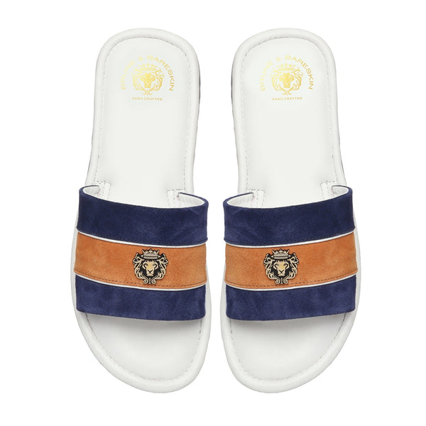 Blue & Orange Suede Strap White Leather Slide-in Slippers by BRUNE & BARESKIN