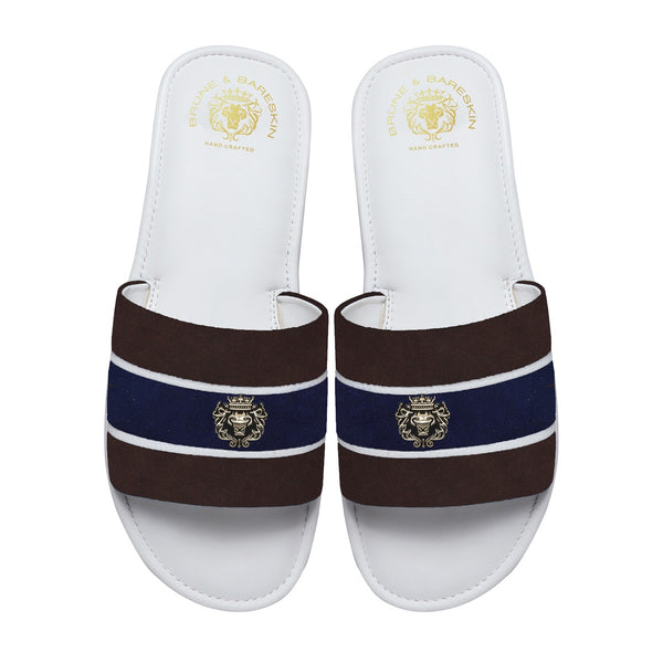Brown & Blue Suede Strap White Leather Slide-in Slippers by BRUNE & BARESKIN