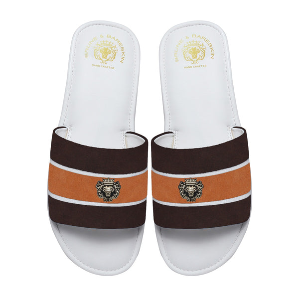 Brown & Orange Suede Strap White Leather Slide-in Slippers by BRUNE & BARESKIN