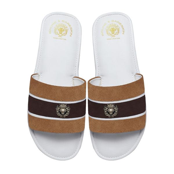 Beige & Brown Suede Strap White Leather Slide-in Slippers by BRUNE & BARESKIN