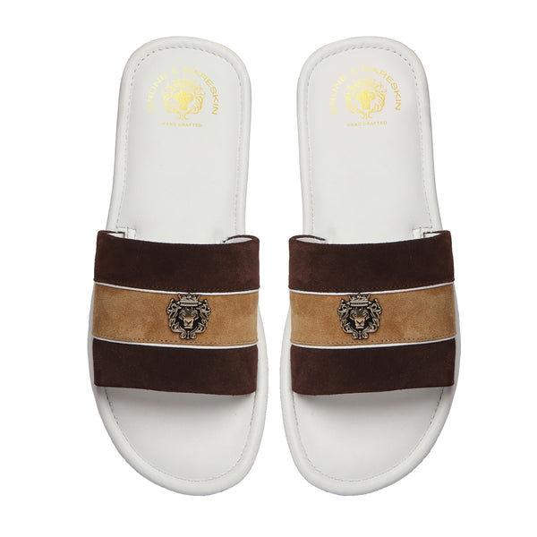 Brown & Beige Suede Strap White Leather Slide-in Slippers by BRUNE & BARESKIN