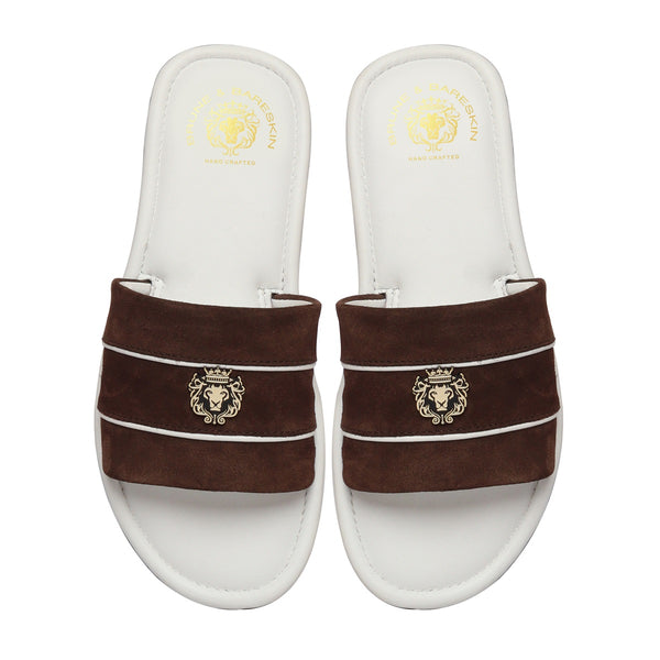 Brown Suede Strap White Leather Slide-in Slippers by BRUNE & BARESKIN