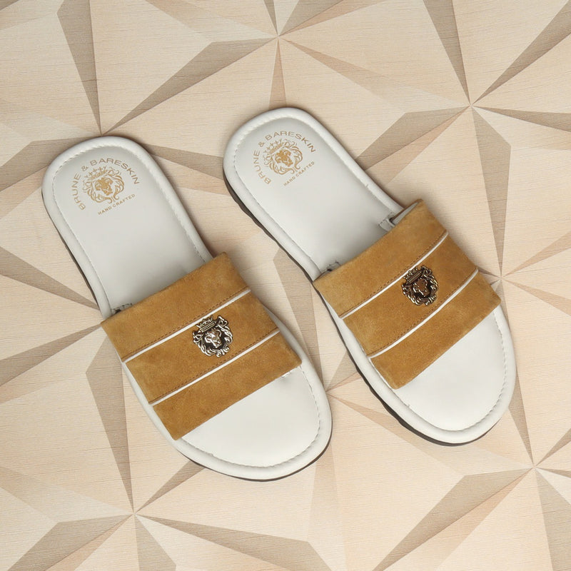 Beige Suede Strap White Leather Slide-in Slippers by BRUNE & BARESKIN