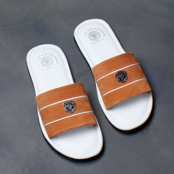 Orange Suede Strap White Leather Slide-in Slippers by BRUNE & BARESKIN