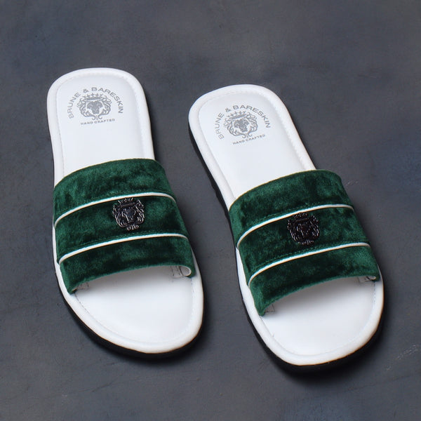 Green Velvet Strap White Leather Slide-in Slippers by BRUNE & BARESKIN