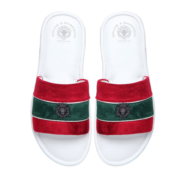 Red and Green Velvet Strap White Leather Slide-in Slippers by BRUNE & BARESKIN
