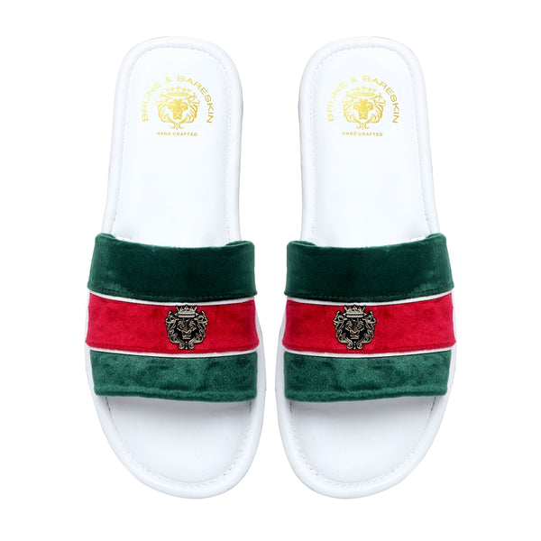 Green and Red Velvet Strap White Leather Slide-in Slippers by BRUNE & BARESKIN