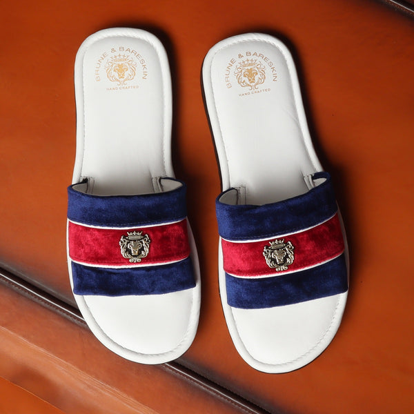 Blue & Red Velvet Strap White Leather Slide-in Slippers by BRUNE & BARESKIN