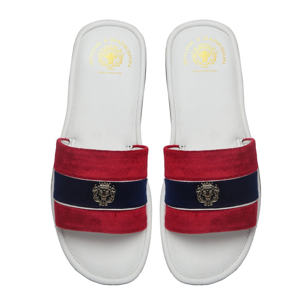 Red & Blue Velvet Strap White Leather Slide-in Slippers by BRUNE & BARESKIN