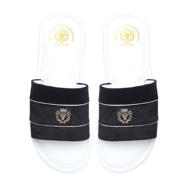 Black Velvet Strap White Leather Slide-in Slippers by BRUNE & BARESKIN