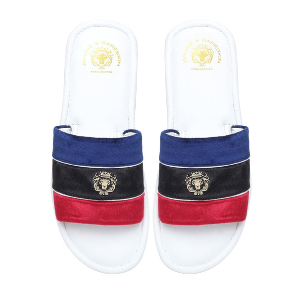 Blue, Black & Red Velvet Strap White Leather Slide-in Slippers by BRUNE & BARESKIN