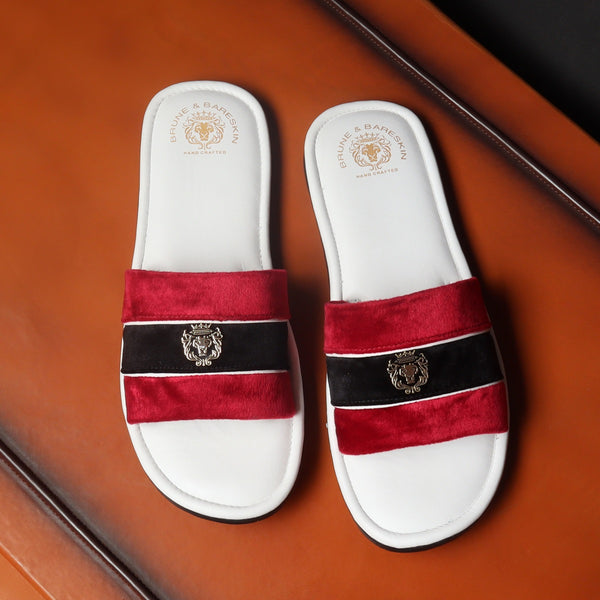 Red & Black Velvet Strap White Leather Slide-in Slippers by BRUNE & BARESKIN