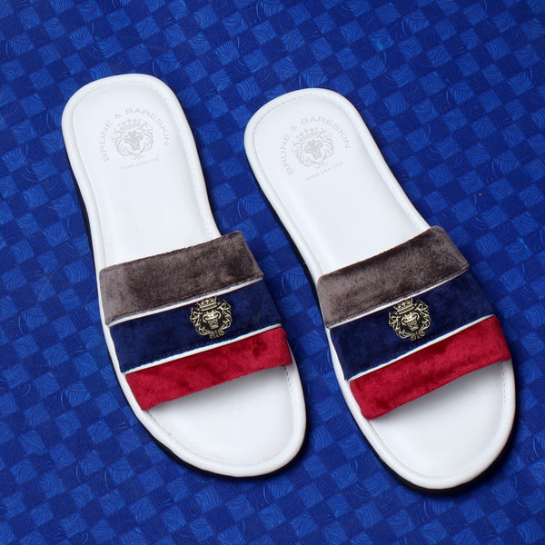 Grey, Blue & Red Velvet Strap White Leather Slide-in Slippers by BRUNE & BARESKIN