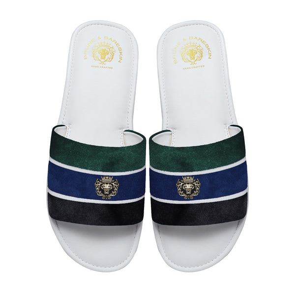 Green, Blue & Black Velvet Strap White Leather Slide-in Slippers by BRUNE & BARESKIN
