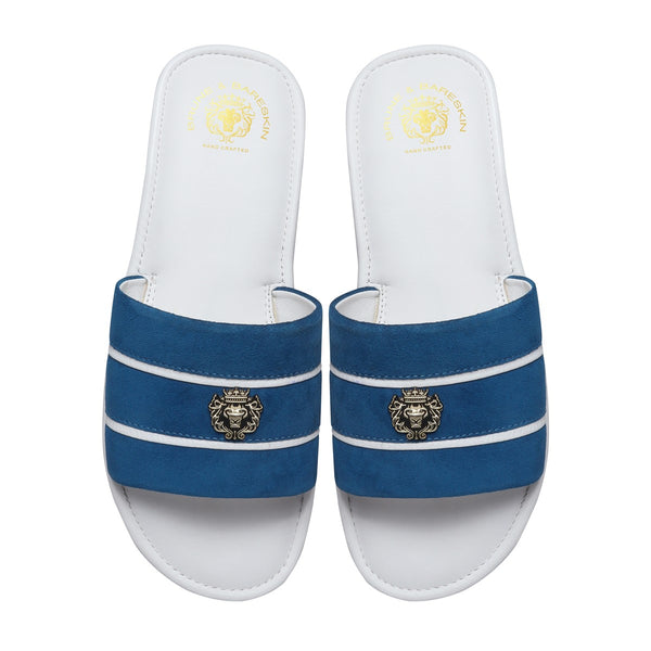Blue Suede Strap White Leather Slide-in Slippers by BRUNE & BARESKIN