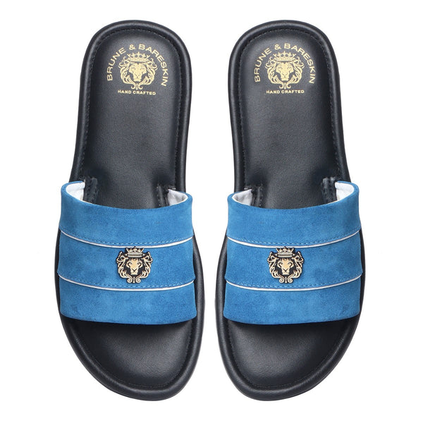 Blue Suede Strap With Black Leather Slide-in Slippers by BRUNE & BARESKIN