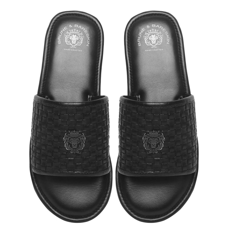 Black Hand Weaved Leather Strap with Lion Logo Sliders by BRUNE & BARESKIN