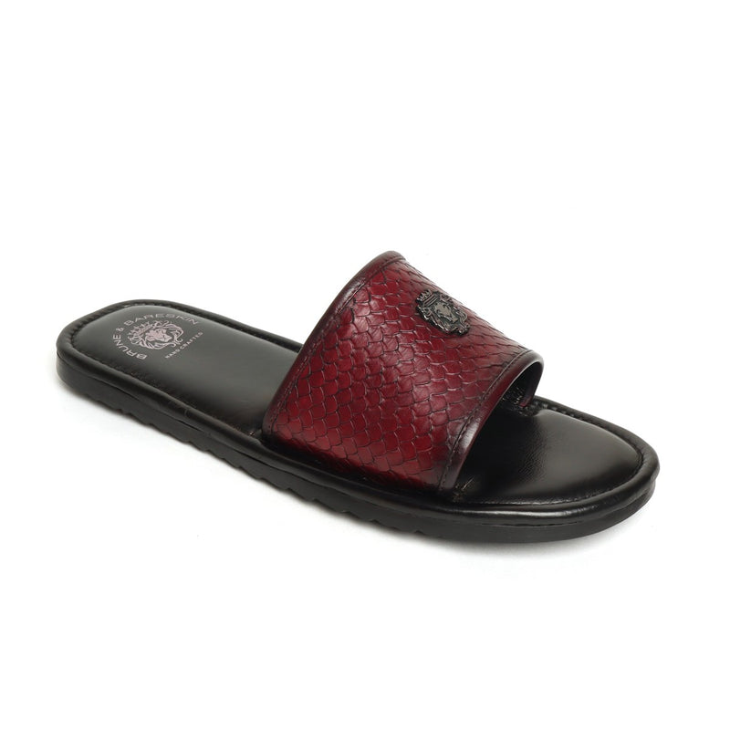 Wine Snake Scale Textured Leather Strap Sliders by BRUNE & BARESKIN